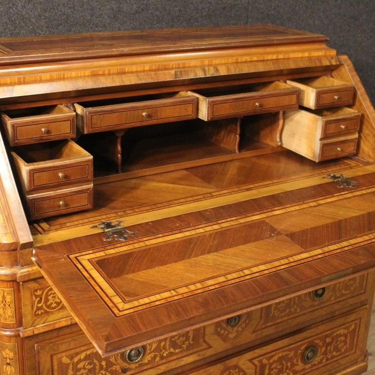 Inlay 20th Century Inlaid Wood Italian Louis XVI Maggiolini Style Bureau Desk, 1960 For Sale