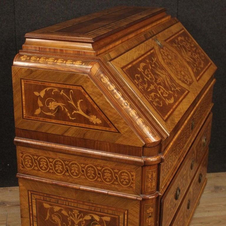 Fruitwood 20th Century Inlaid Wood Italian Louis XVI Maggiolini Style Bureau Desk, 1960 For Sale