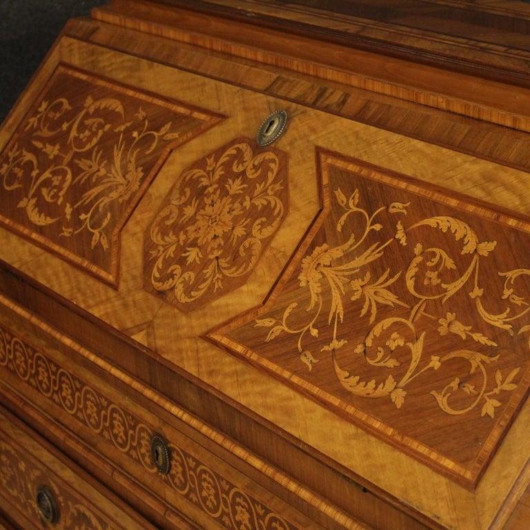 20th Century Inlaid Wood Italian Louis XVI Maggiolini Style Bureau Desk, 1960 For Sale 4