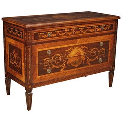 20th Century Inlaid Wood Italian Louis XVI Style Dresser Commode, 1960