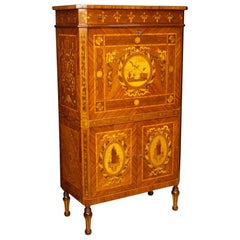 20th Century Inlaid Wood Italian Louis XVI Style Secrétaire / Bar Cabinet, 1960