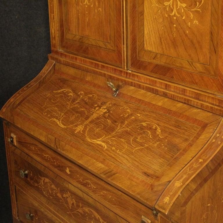 20th Century Inlaid Wood Italian Louis XVI Style Trumeau Desk, 1950 For Sale 6