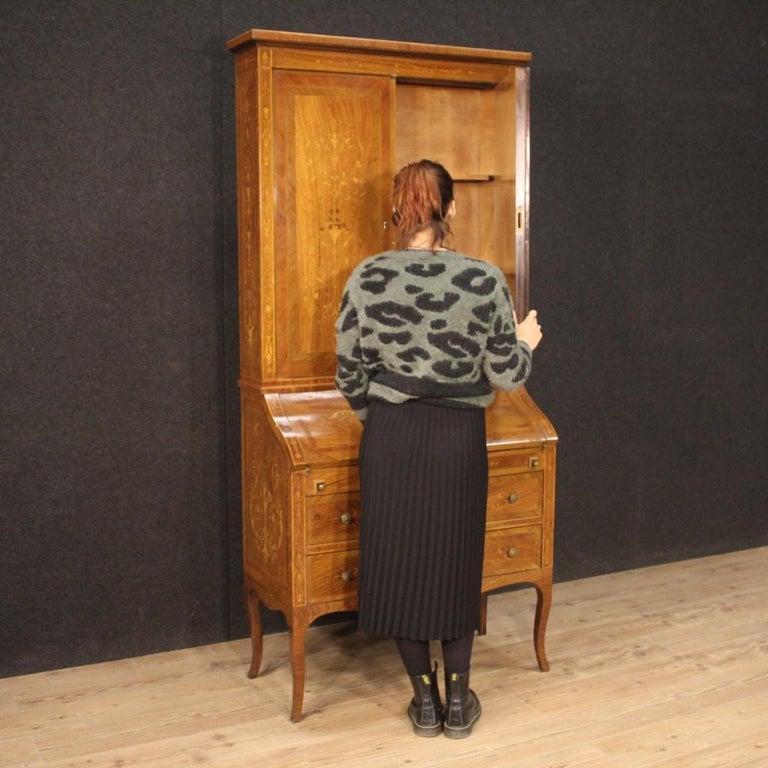 20th Century Inlaid Wood Italian Louis XVI Style Trumeau Desk, 1950 For Sale 7