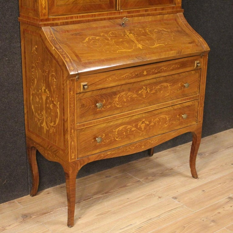 20th Century Inlaid Wood Italian Louis XVI Style Trumeau Desk, 1950 In Good Condition For Sale In Vicoforte, Piedmont