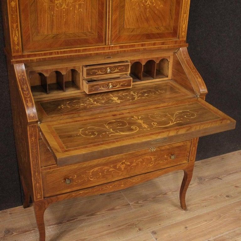 20th Century Inlaid Wood Italian Louis XVI Style Trumeau Desk, 1950 For Sale 1