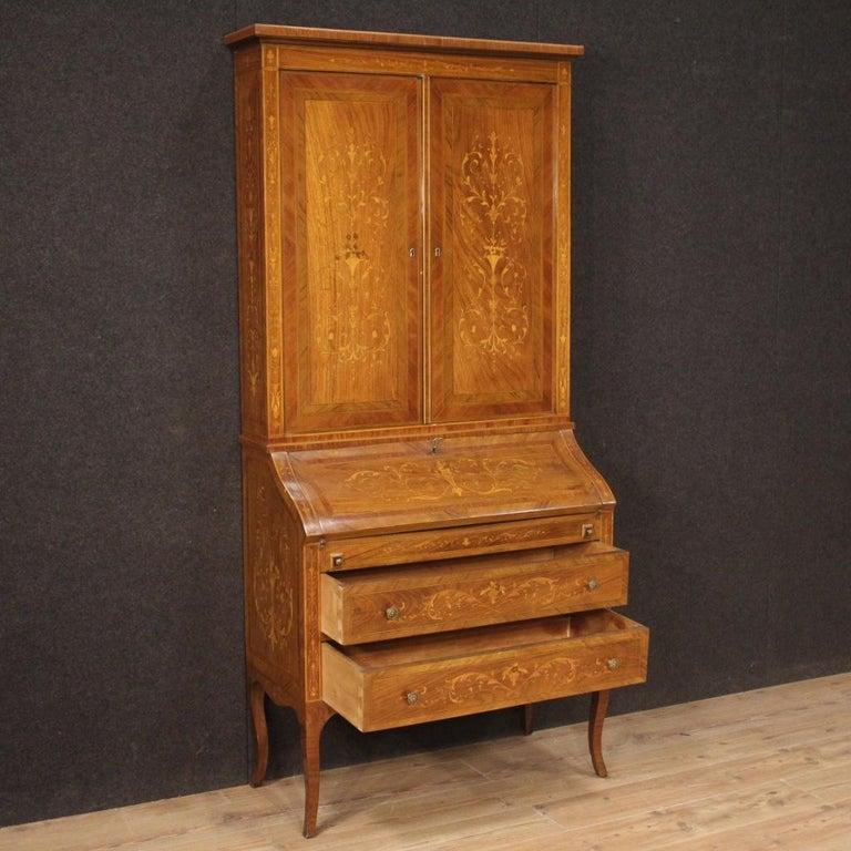 20th Century Inlaid Wood Italian Louis XVI Style Trumeau Desk, 1950 For Sale 2