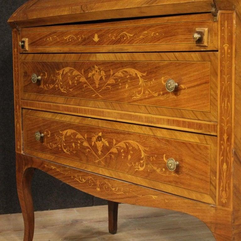 20th Century Inlaid Wood Italian Louis XVI Style Trumeau Desk, 1950 For Sale 5