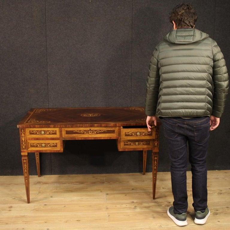 20th Century Inlaid Wood Italian Louis XVI Style Writing Desk, 1960 5