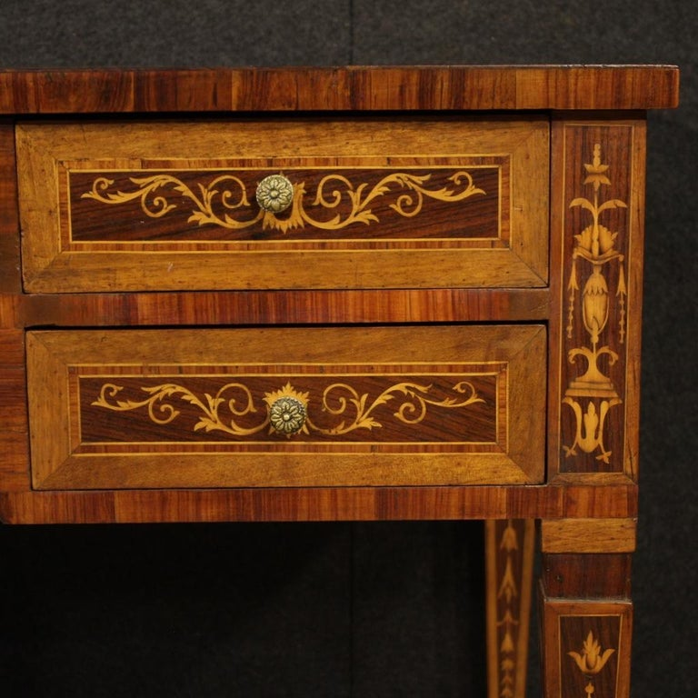 20th Century Inlaid Wood Italian Louis XVI Style Writing Desk, 1960 1