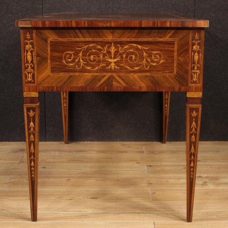 20th Century Inlaid Wood Italian Louis XVI Style Writing Desk, 1960 2