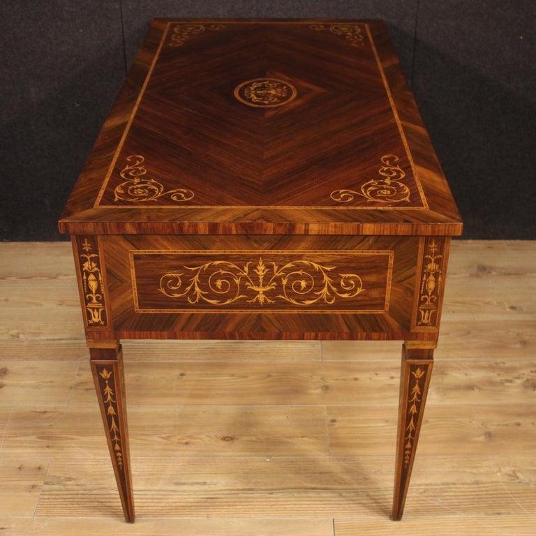 20th Century Inlaid Wood Italian Louis XVI Style Writing Desk, 1960 4
