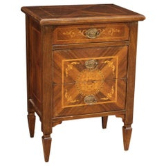 20th Century Inlaid Wood Louis XVI Style Italian Bedside Table, 1970