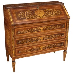 20th Century Inlaid Wood Louis XVI Style Italian Bureau, 1950