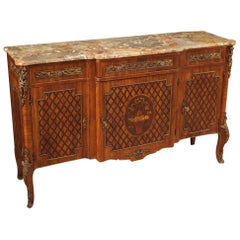 20th Century Inlaid Wood Marble Top French Napoleon III Style Sideboard, 1950