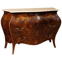 20th Century Inlaid Wood Marble Top Italian Dresser, 1950