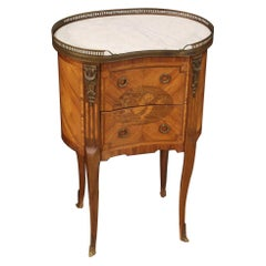 20th Century Inlaid Wood Napoleon III Style French Bedside Table, 1950