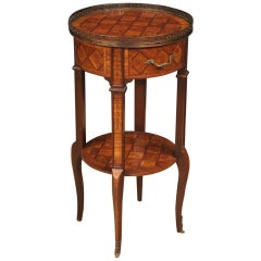 20th Century Inlaid Wood with Brass French Side Table, 1960