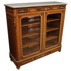 20th Century Inlaid Wood with Marble Top French Bookcase, 1920