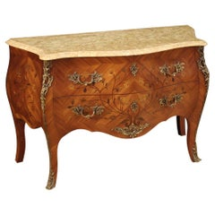 20th Century Inlaid Wood with Marble Top French Chest od Drawers, 1960