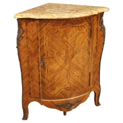 20th Century Inlaid Wood with Marble Top French Corner Cabinet, 1960