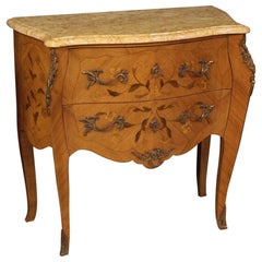 20th Century Inlaid Wood with Marble Top French Louis XV Style Dresser, 1960