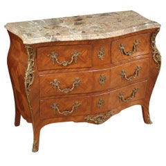 20th Century Inlaid Wood with Marble Top French Louis XVI Style Dresser, 1950