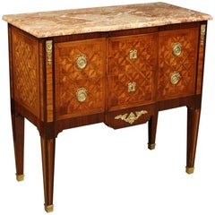 20th Century Inlaid Wood with Marble Top French Louis XVI Style Dresser, 1960