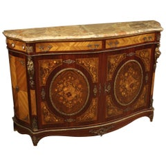 20th Century Inlaid Wood with Marble-Top French Napoleon III Style Sideboard