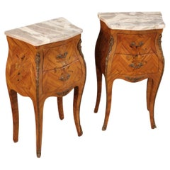 20th Century Inlaid Wood with Marble Top French Night Stands, 1960