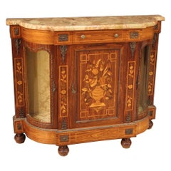 20th Century Inlaid Wood with Marble Top French Sideboard, 1960