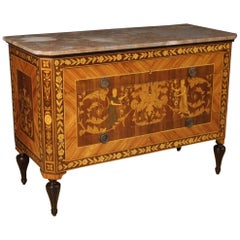 20th Century Inlaid Wood with Marble Top Italian Louis XVI Style Dresser, 1950