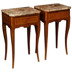 20th Century Inlaid Wood with Marble Top Italian Pair of Bedside Tables, 1960