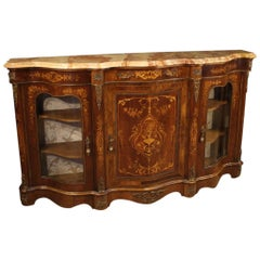 20th Century Inlaid Wood with Marble Top Napoleon III Style French Sideboard