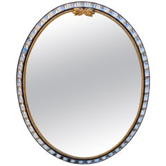 20th Century Irish Style Oval Mirror with Jewels and Beveled Edge
