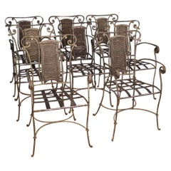 20th Century Iron and Wood Group of 8 Italian Armchairs, 1960