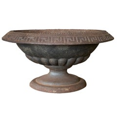 20th Century Iron Bowl or Centerpiece with Greek Key Detail