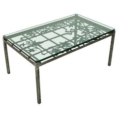 20th Century Iron Coffee Table Made with French Art Nouveau Period Balcony Grill