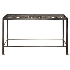 20th Century Iron Console Table with Iron Grate Insert
