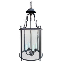 20th Century Italian Iron Four-Light Lantern with Hand-Blown Curved Glass