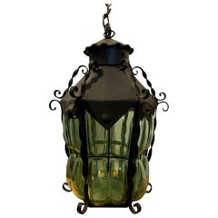 20th Century Iron Hanging One-Light Lantern with Green Blown Glass