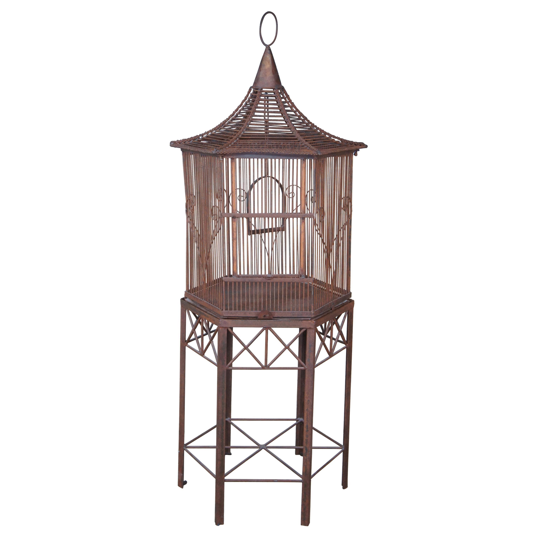 20th Century Iron Octogon Pagoda Birdcage House on Stand