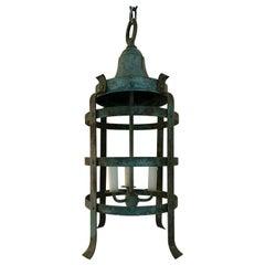 20th Century Iron Three-Light Lantern with Worn Celadon Finish