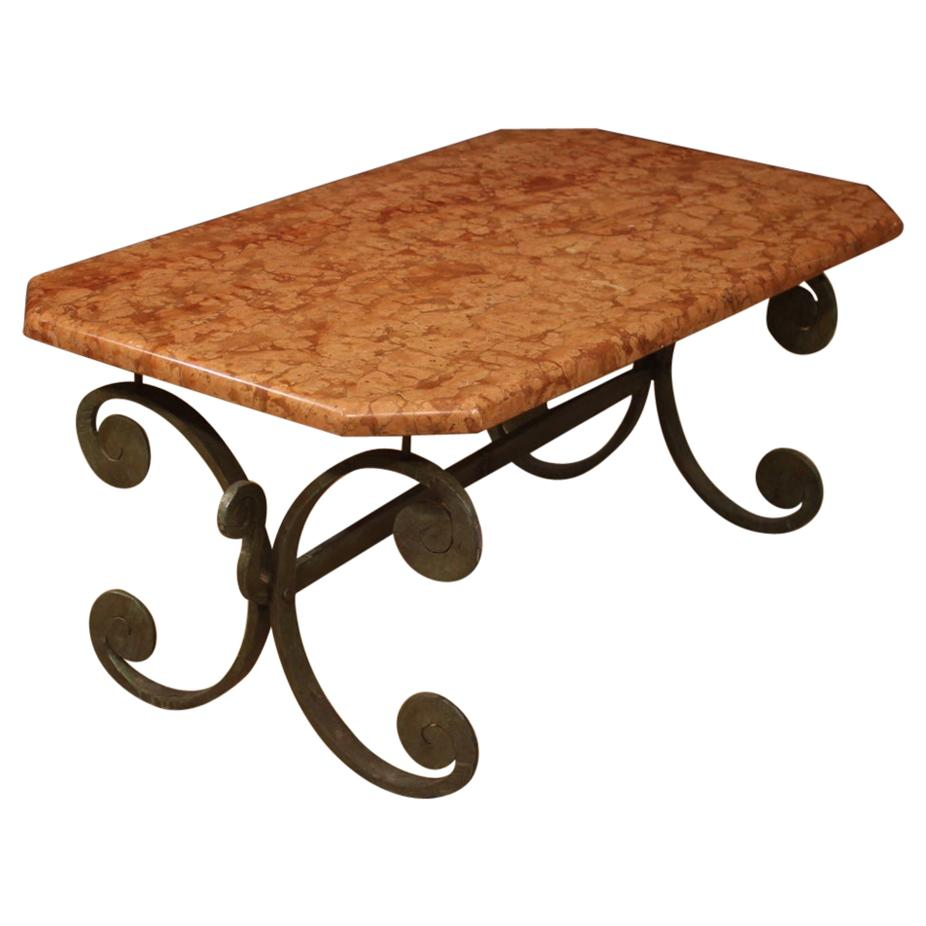 20th Century Iron with Marble Top French Living Room Coffee Table, 1970