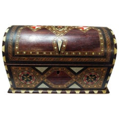 20th Century Islamic Fruity Wood and Bone Inlaid Jewelry Box