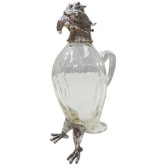 20th Century Italia Solid Silver-Cristal Jug with the Shape of a Parrot