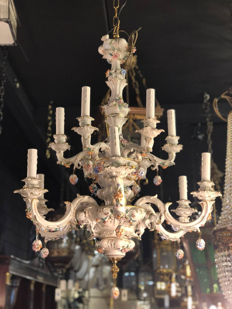 20th century italian 12 lights porcelain chandelier with flowers and rococo 20th century italian 12 lights porcelain chandelier with flowers and gold detail for sale arubaitofo Gallery