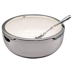 20th Century Italian 800 Silver Spaghetti Bowl with Ceramic and Silver Spoon