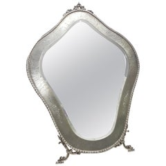 20th Century Italian 800 Solid Silver Table Mirror