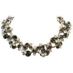 20th Century Italian 925 Silver & Swarovski Crystal Chain Link Choker Necklace