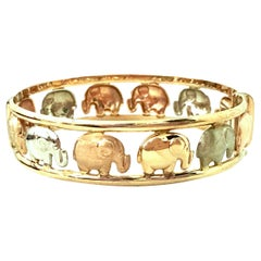 20th Century Italian 9K Rose, Yellow & White Gold Elephant Bangle Bracelet